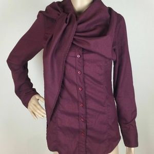 Lucy Activewear Maroon Scarf Cape Built-in Size S